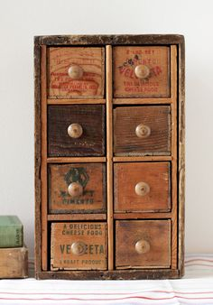 Multi Drawer Desk Supply Organizer from Vintage Cheese Boxes and Crates