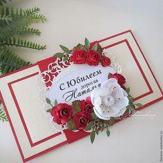 Купить Конверт для денег - красный цвет, Конверт для денег, оригинальный подарок, цветы бумажные