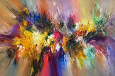 "Large abstract modern colorful painting. Saatchi Art Artist Peter Nottrott; Painting, ""Splendid XL 1"" #art"