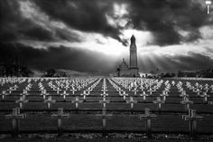 The 45.000 in B by Romain Matteï Photography, via 500px| Notre-Dame-de-Lorette is the name of a ridge, basilica, and French national cemetery in the north of France.  This ridge is the high point (standing at 165m) dominating the flat plains around. More than a year of tight battles were held here during the WWI and it now helds the remains of 45,000 soldiers.  May they Rest In Peace!