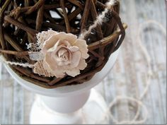Newborn Headband- Baby Flower Headband- Newborn Tieback- Photo Prop - Giselle. $9.75, via Etsy.