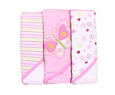 Spasilk Soft Terry Hooded Towel Set, Pink Butterfly, 3-Count
