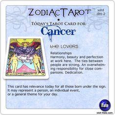 Zodiac Tarot for December 2: Cancer <br>  http://ifate.com