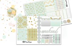 Planner Sticker Weekly Kit Mint and Metals for your Erin Condren Life Planner…