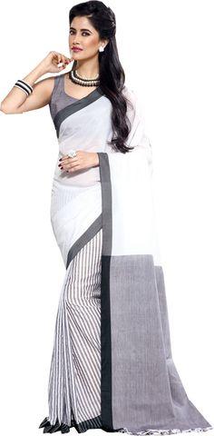 White Causal Wear Saree Designer Work Printed Skirt Cotton Sari #SareeStudio #SareeSari #CausalWear
