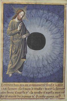 Jesus und die Engelschar. Schwarze Sonne im Zentrum? Stundenbuch, Bibliothèque nationale de France