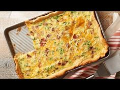 Slab quiche is our new favorite way to make eggs for a crowd! These sheet-pan eggs have a rich and velvety filling full of bacon, Bacon-Cheddar Slab Quiche --- cheddar and green onions. Bonus: it takes just 20 minutes to prep. What's For Breakfast, Breakfast Dishes, Breakfast Recipes, Savory Breakfast, Breakfast Sandwiches, Breakfast Casserole, Quiche Recipes, Brunch Recipes, Brunch Ideas