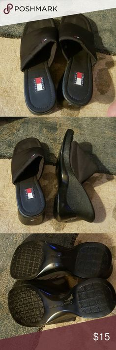 Tommy heels Tommy hilfiger slip on lightly worn. I bought them but walk in them once and i cant wear heels. Break my neck. Lol size 10. Tommy Hilfiger Shoes Heels