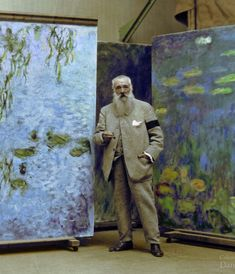Claude Monet In His Studio At Giverny. Colorized B+W Photograph — em Fondation Claude Monet à Giverny. Colorized Historical Photos, Colorized History, Claude Monet, French Impressionist Painters, Impressionist Paintings, Studios D'art, Artist Monet, Monet Paintings, Quote Paintings