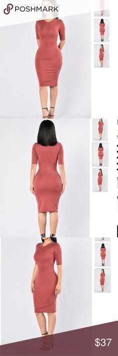 ✨NEW LIST✨ Body Loving Dress Beautiful super stretchy 3/4 length sleeve dress. Simple yet sexy. Rusty reddish brown color. Best for size small or could stretch for a medium. Let me know if you have any questions Dresses Midi