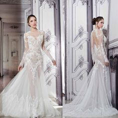 Pnina Tornai Sheer Wedding Dresses 2015 Illusion Crew Neck Long Sleeve Lace Appliques Bodice Tulle Skirt Bridal Gowns with Cut Out Open Back