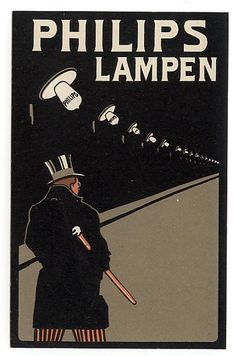 Postcard advertising Philips lamps – The Man With The Top hat (circa 1909)