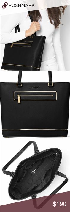 Michael Kors 💋authentic Michael Kors Frame Out BlackSaffiano Leather Medium Tote this bag is Gorgeous!!!😍 NWT Michael Kors Bags Totes