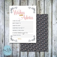INSTANT DOWNLOAD - Corner Flourish Pink, Gold and Navy Bridal Shower Wishes and Advice Guest Card DIY by AmaVitaDesigns on Etsy