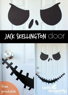 Jack Skellington door decoration that is perfect for Halloween. This article even includes a free printable that makes creating this door decoration easy. Decoration Haloween, 50 Diy Halloween Decorations, Deco Haloween, Diy Halloween Dekoration, Nightmare Before Christmas Decorations, Nightmare Before Christmas Halloween, Christmas Themes, Halloween Prop, Casa Halloween