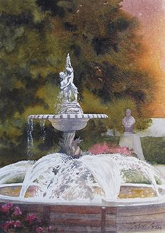 Frederick Fountain by Susan Lynn Watercolor ~ x Watercolor Trees, Watercolor Landscape, Landscape Art, Watercolor Paintings, Pool Fountain, Painting Competition, Garden Park, Flower Art, Art Flowers