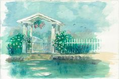 Garden Gate by Richard Doyle (watercolor) Print available for purchase