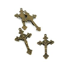 110pcs Jewelry Making Charms Jewellery Charme Antique Brass Tone Fashion Finding for Necklace Bracelet Pendant Earrings Repair DIY G2TR2 Jesus Cross >>> You can get additional details at the image link.