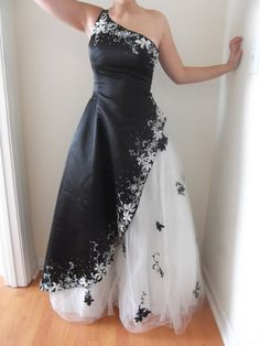 Jovani Black/White Ball Gown Prom One Shoulder by acornabbey