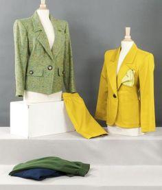 Yves SAINT LAURENT Rive gauche Lot composé de deux vestes, l'une en satin
