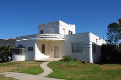 Streamline moderne house in New Orleans, nearly destroyed by Hurricane Katrina.  Now restored.