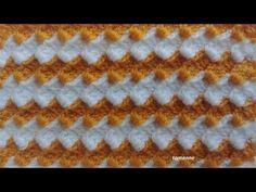 3 Boyutlu 2 Renkli Çift Taraflı Lif Modeli Videolu yapımı ve kabarık iki tarafı da kullanılan örneği ile hacimli Battaniye Modeli yapımı. Model zincir üzerinden Knitting Stitches, Baby Knitting, Knitting Patterns, Crochet Patterns, Crochet Pouch, Crochet Chart, Free Crochet, Diy Crafts Love, Crochet Waffle Stitch