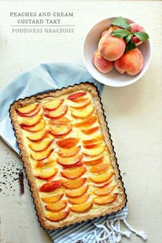 This is the best custard tart I've ever tasted! The crust is a shortbread cookie filled with rich creamy pastry cream and topped with juicy ripe peaches. Make this for dessert tonight! Tart Recipes, Dessert Recipes, Cooking Recipes, Chef Recipes, Quick Recipes, Quiches, Butter Crust, Just Desserts, Mini Desserts