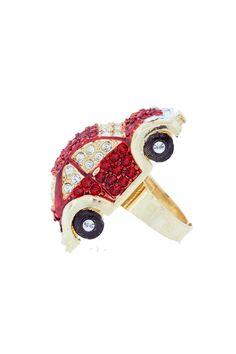 Crystal VW Beetle ring