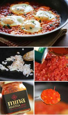 Spicy eggs poached in tomatoes and harissa – Breakfast, brunch or dinner!