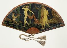 1914 Georges Barbier ivory, metal, and silk painted Fan, French.