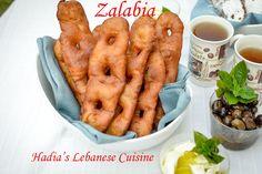 Zalabia is a traditional deep fried Lebanese fritter that is made of fermented dough - a great breakfast treat. Lebanese Desserts, Lebanese Cuisine, Lebanese Recipes, Zalabia Recipe, Middle Eastern Desserts, Arabic Food, Arabic Sweets, Arabic Dessert, Egyptian Food