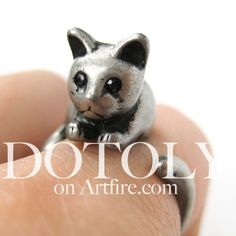 $10 Miniature Kitty Cat Animal Wrap Ring in Silver - Sizes 5 to 9 available