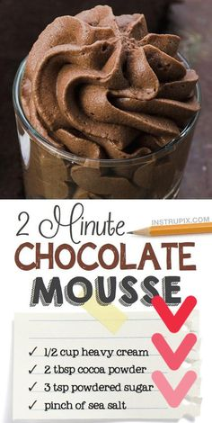 Looking for quick and easy dessert recipes with few ingredients? This easy chocolate mousse recipe makes just one serving so that you don't over indulge but you can also double or triple the recipe to feed a crowd. No baking required. This simple chocolate dessert is made with just heavy cream cocoa powder and powdered sugar. I just love easy dessert ideas like this! This mousse is incredibly fluffy and rich. You won't be disappointed! ...y favorite dessertGreat With Ice CreamNot only do I… Dessert Kabobs, Dessert Parfait, Bon Dessert, Dessert Dips, Dessert Healthy, Easy Keto Dessert, Healthy Chef, Eat Healthy, No Bake Chocolate Desserts