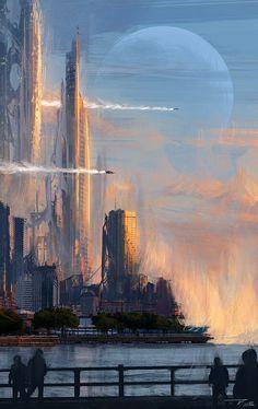 """City on an alien planet, sci-fi / space opera inspiration  """"Shoreline"""" by Tim Blandin."""