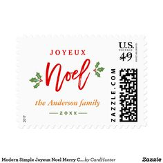 """Modern Simple Joyeux Noel Merry Christmas Favor Postage ================= ABOUT THIS DESIGN ================= Modern Simple Joyeux Noel Merry Christmas Favor Postage Stamp. (1) For further customization, please click the """"Customize it"""" button and use our design tool to modify this template. (2) If you need help or matching items, please contact me."""