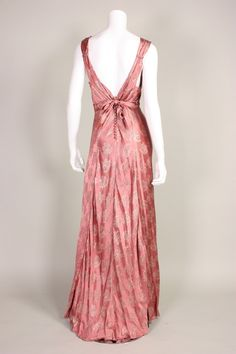 1930's Mauve Lamé Bias Cut Gown
