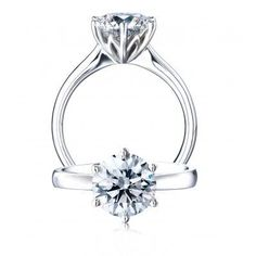 Platinum Protea Solitaire Diamond Engagement Ring