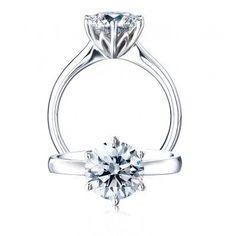 Platinum Protea Solitaire Diamond Engagement Ring