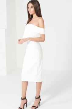 White Bandeau Insert Sleeve Cropped Midi Dress