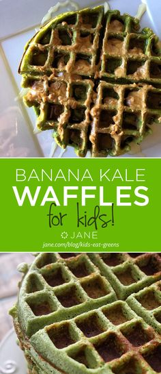 Banana Kale Waffles - For Kids! Yummy for St. Patty's Day or ANY day!