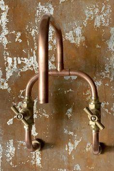 Loop wall mount industrial handmade co Copper Bathroom, Industrial Bathroom, Bathroom Faucets, 1920s Bathroom, Wall Faucet, Wall Taps, Wood Bathroom, Armoire Design, Old Frames
