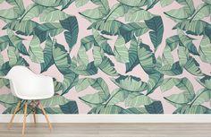 pink-and-green-tropical-leaf-design-room