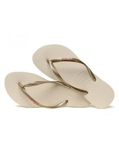 da11f2e12ff0 Havaianas Slim Logo Metallic slipper - beige   combi. Metallic  SlippersDesigner SandalsSummer ...