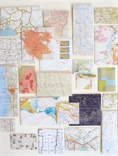 Redecorating the hall bath with a travel theme - love the idea of creating a collage out of maps from places we've been