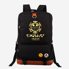 ad5749415369 Hot Japanese Anime One Piece Death Surgeon Trafalgar D Water Law Fashion  Gold Printing Backpack Canvas Women s Backpack Mochila