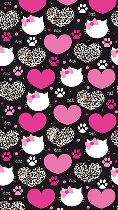 Image via We Heart It #background #cat #heart #pattern #wallpaper #wallpapersiphone