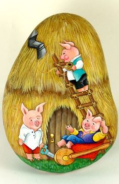 The Three Little Pigs painted rock art by Ernestina Gallino / www.pietrevive.it