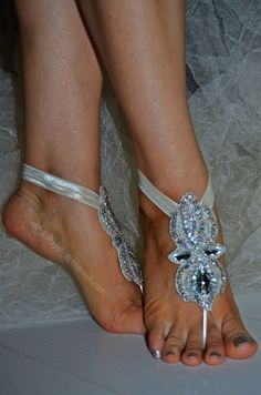 free ship_Rhinestone anklet Beach wedding barefoot by newgloves Nude Sandals, Bare Foot Sandals, Anklet, Barefoot, Gloves, Ship, Cake, Beach, Wedding