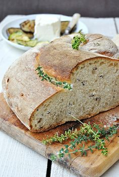 Homemade bread with fresh herbs from the window garden. Yes, please!