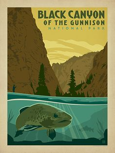 Black Canyon of the Gunnison National Park - Anderson Design Group has created an award-winning series of classic travel posters that celebrates the history and charm of America's greatest cities and national parks. Founder Joel Anderson directs a team of talented Nashville-based artists to keep the collection growing. This print celebrates the pristine fishing spots in the Black Canyon of the Gunnison National Park.